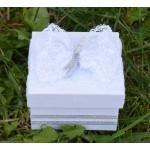 Комплект за кръщене с дантела украсен в сребърно