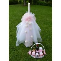 Комплект за момиче розова органза