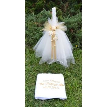 Комплект свещ и кърпа в златно с рози