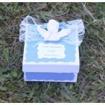 Кръщене в светло синьо с ангелче в бяла кошница