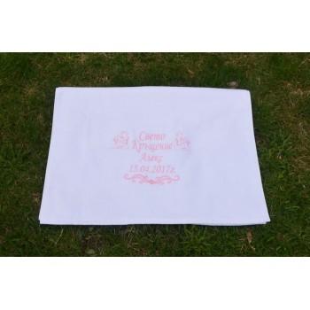 Кърпа с бродерия името на детето модел Aнгели - за момче и момиче