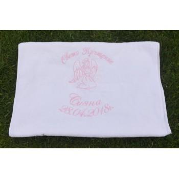 Кърпа с бродерия името на детето модел Ангел - за момче и момиче