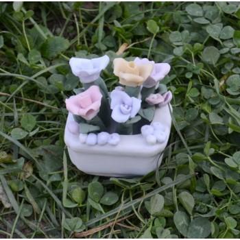 Подарък керамично сандъче с цветя