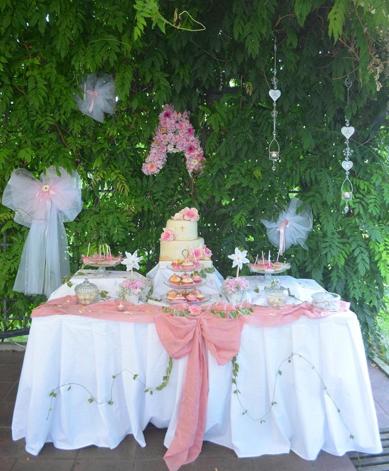 Сладка маса за кръщене, украса на сладка маса за кръщене, кръщене сладка маса
